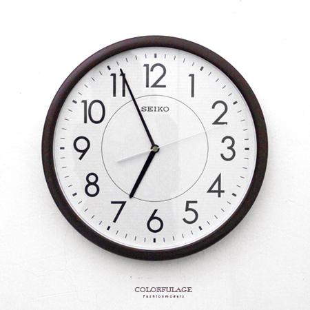 SEIKO精工掛鐘品味咖啡色外框時鐘面板夜光功能滑動式秒針柒彩年代NG1724原廠公司貨