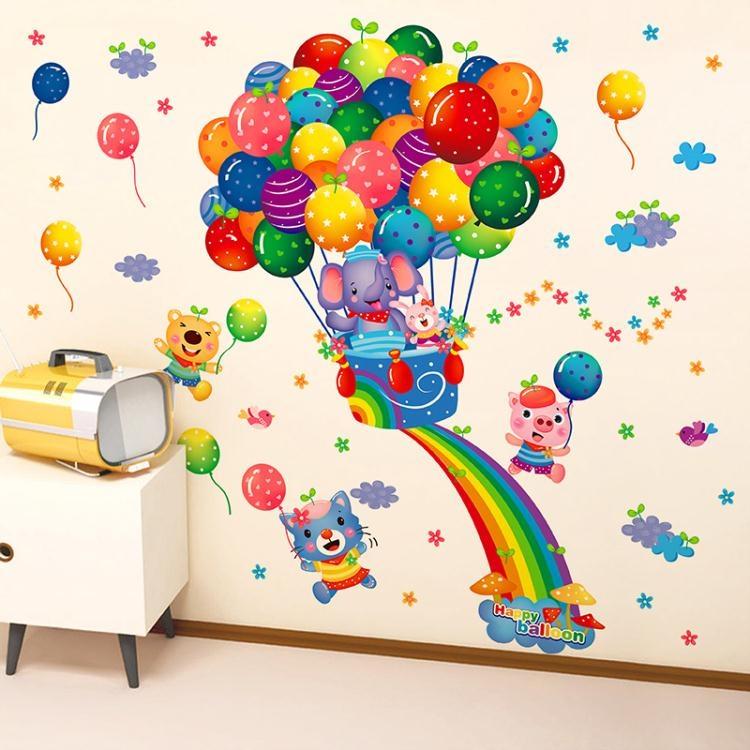 卡通墻貼墻貼紙貼畫彩虹卡通嬰兒兒童房間幼兒園教室墻面墻壁紙裝飾品布置諾克男神