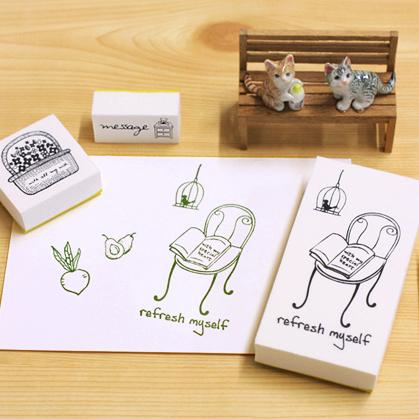 韓國文具Somssi natural stamp卡通可愛印章套裝refresh myself-B款SV1047快樂生活網