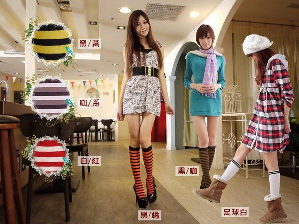 Amiss襪子團購網♥【A413-10】歐系時尚膝下襪-條紋(6色)