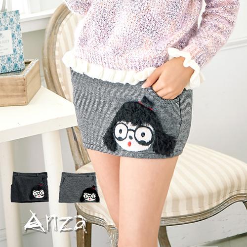 【AnZa】娃娃大頭造型針織迷你短裙(二色)