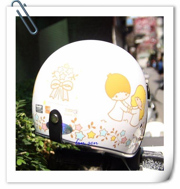 林森kikilala雙子星安全帽復古帽3 4帽020蝴蝶結白