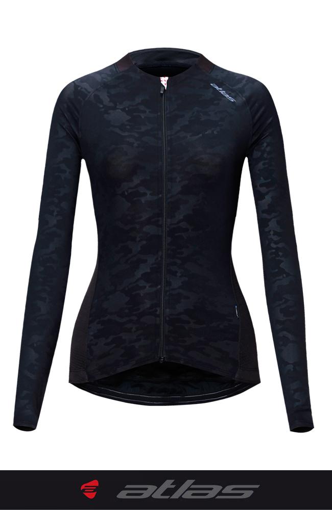【亞特力士ATLAS】女長袖車衣-冷黑-靚車衣30℃~38℃ WJF-309-B (迷彩黑)