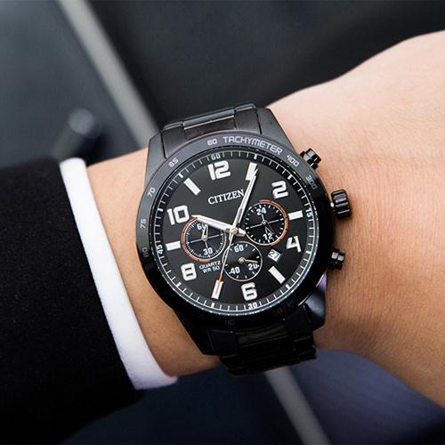 CITIZEN 星辰 限量飛行紳士三眼計時腕錶/黑 AN8165-59E 公司貨 石英錶 熱賣中!
