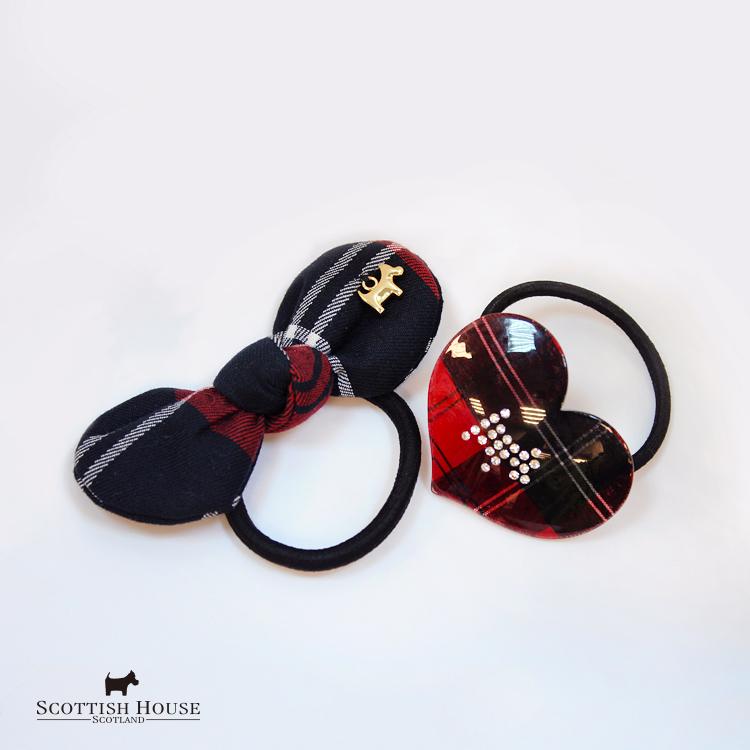 經典格紋蝴蝶結及壓克力愛心髮圈 Scottish House【AH5602】