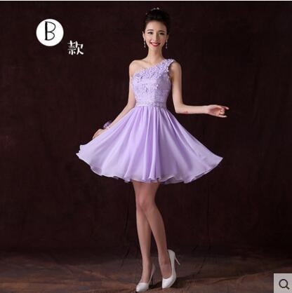 2016秋季新款伴娘團禮服短款姐妹裙伴娘服紫色小禮服宴會晚禮服