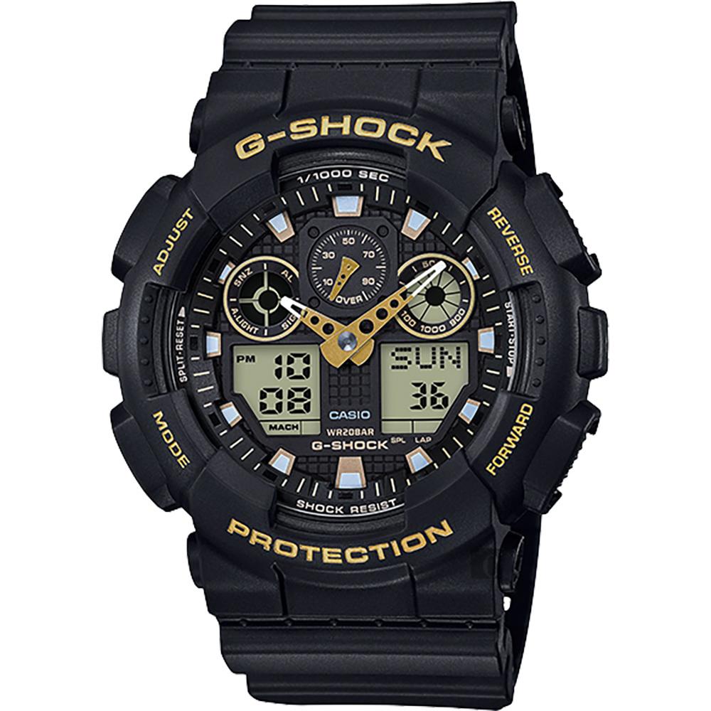 CASIO卡西歐G-SHOCK賽車運動雙顯手錶-金x黑GA-100GBX-1A9DR
