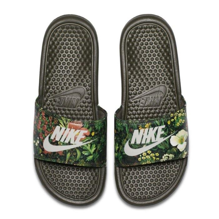 NIKE W BENASSI JDI PRINT女鞋拖鞋花卉花朵黑運動世界618919-300