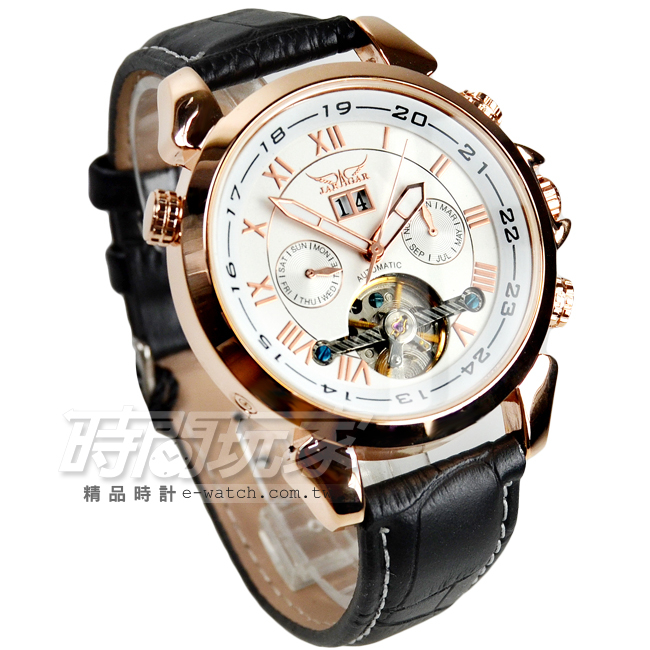 JARAGAR 全自動機械錶 雙日曆腕錶 皮革男錶 羅馬數字時刻 真三眼防水手錶 簍空 玫瑰金 J597玫白