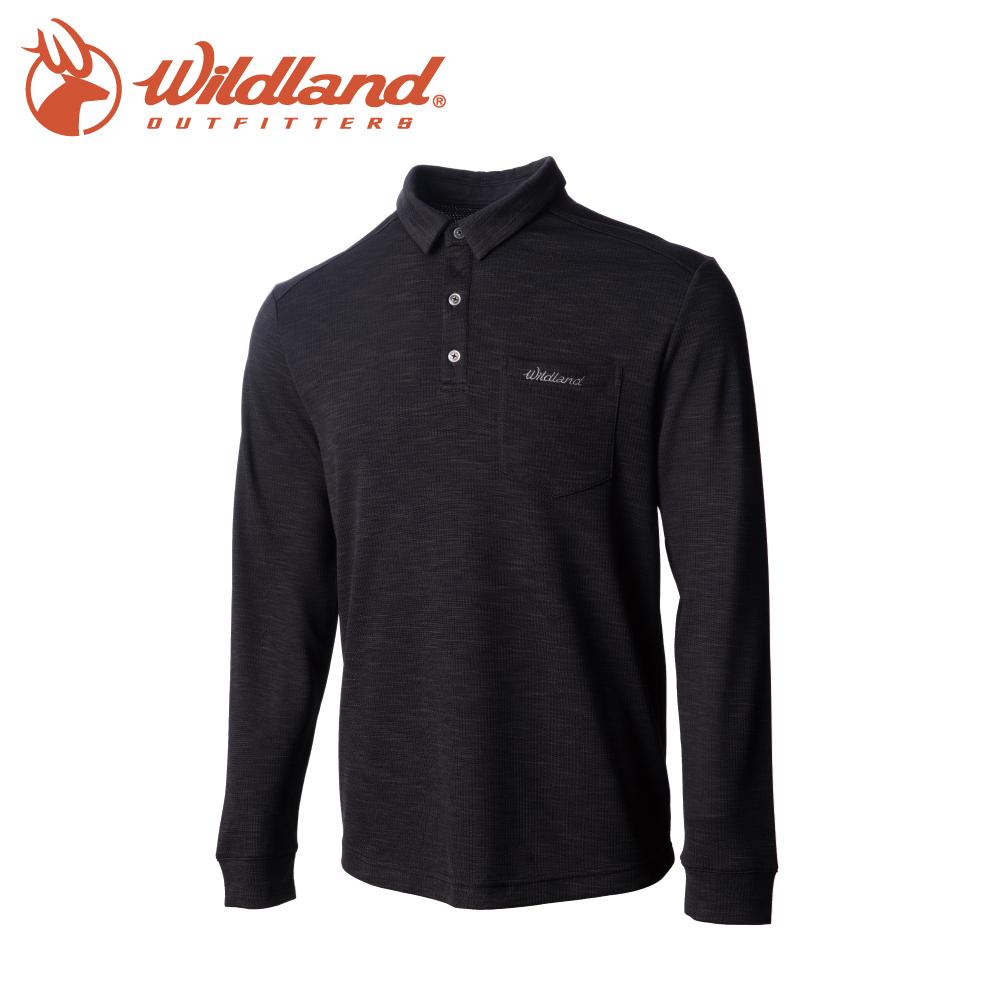 【Wildland 荒野 男 彈性雙色POLO長袖上衣《深灰》】0A72606/polo衫/運動衣/休閒衫/吸濕排汗