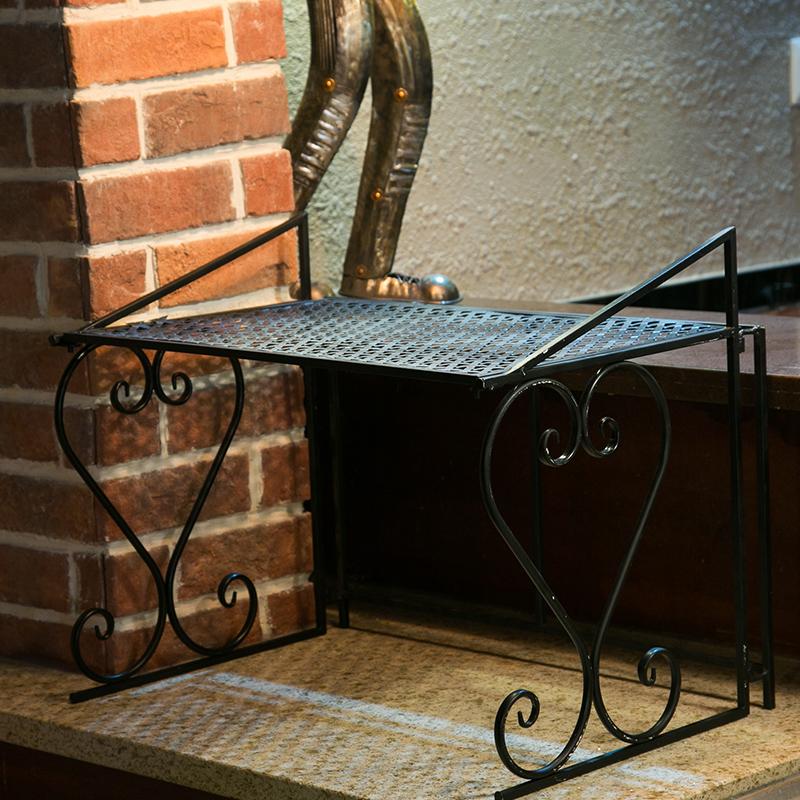 廚房置物架微波爐架烤箱架雙層調味料用品收納儲物2層鐵鍋角架子