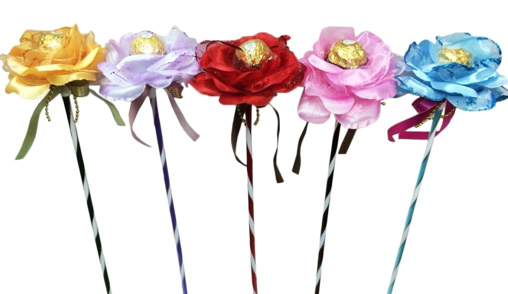 娃娃屋樂園~花朵金莎巧克力花棒每枝28元婚禮小物送客禮60朵送花束包裝