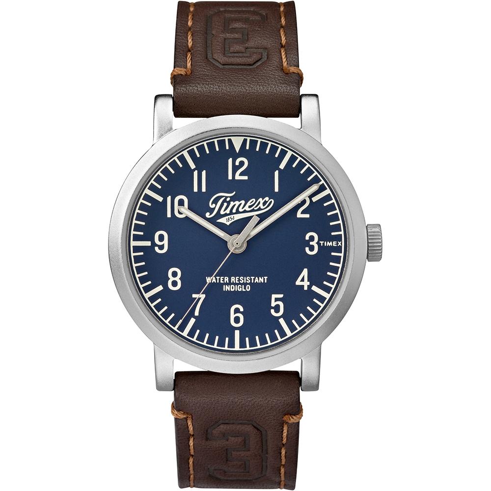 【TIMEX】天美時復刻University系列學院風手錶(藍/咖啡 TXT2P96600)