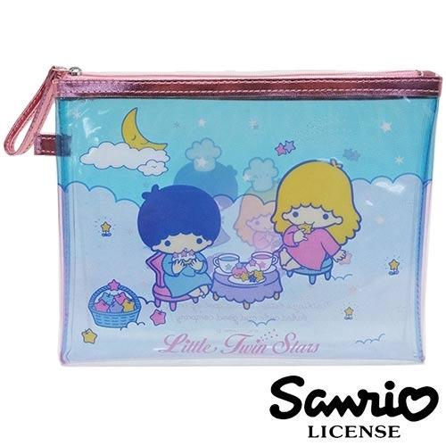 日本進口正版雙子星KIKILALA三麗鷗人物防潑水中型收納包收納袋Sanrio 428549