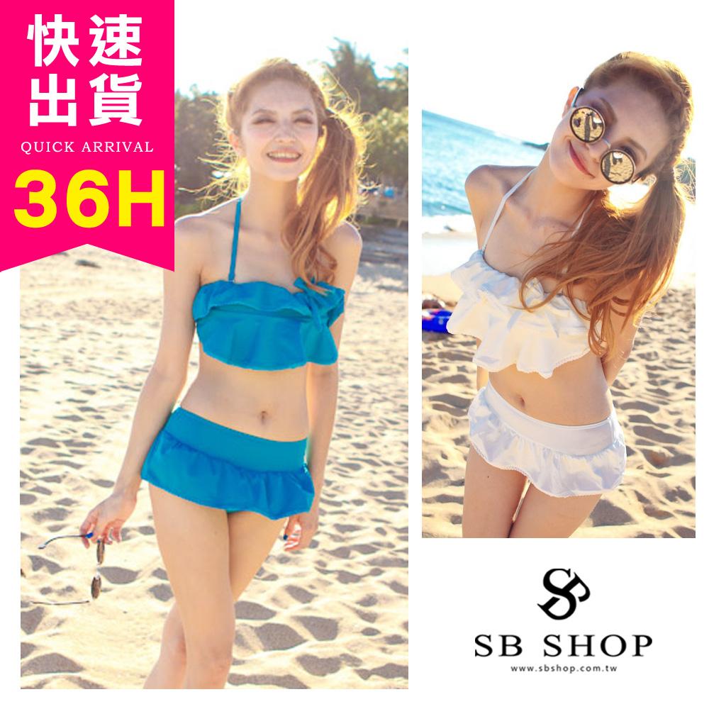 比基尼泳裝泳衣兩件組比基尼-2色2b10白2b11藍罩杯激增蛋糕裙爆乳襯墊音樂祭SB SHOP