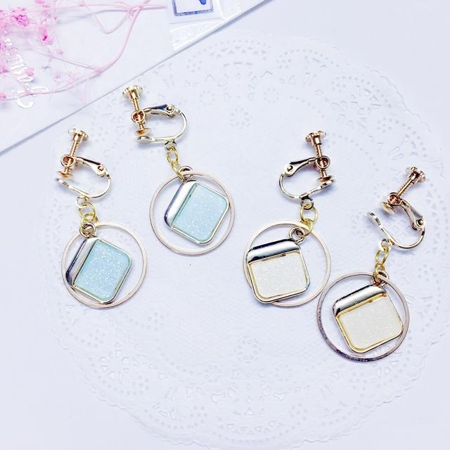 夾式耳環獨家設計星空珠光方形鏤空圓圈夾式耳環