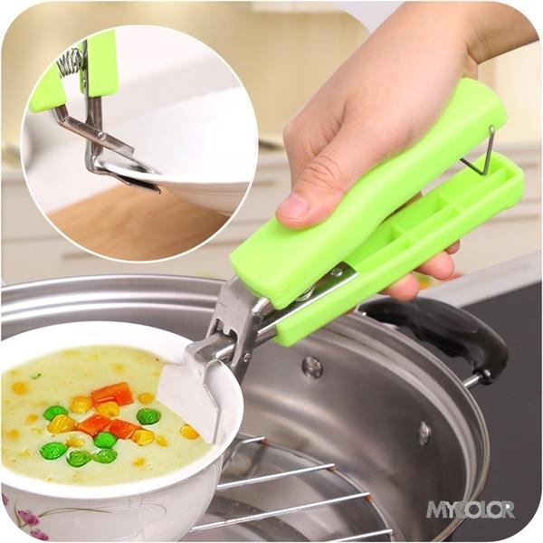 MY COLOR多功能不鏽鋼防燙夾廚房微波爐電鍋碗盤料理烘焙烹飪用餐食物J119