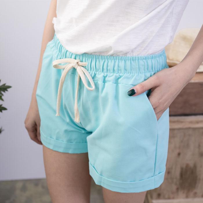舒適棉抽繩雙口袋休閒短褲   [藍 黃 粉 白 黑] 五色售 [RBNO07044]