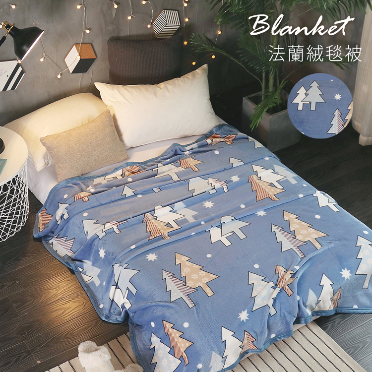 BELLE VIE 專櫃厚邊加長版 保暖法蘭絨毯 (150x210cm) 聖誕樹