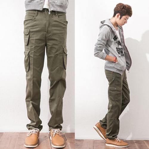 軍綠立體多口袋設計工作褲