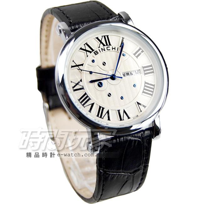 BINCHI古典優雅皮帶腕錶男錶黑BI-1014黑大時間玩家石英錶羅馬數字時刻