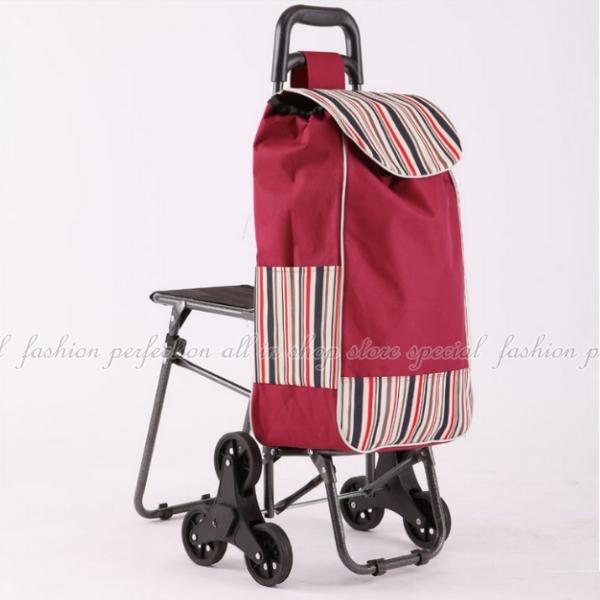 DF195爬樓梯折疊購物車附椅款可爬梯附設坐椅休息菜籃車360度行動椅子買菜車EZGO商城