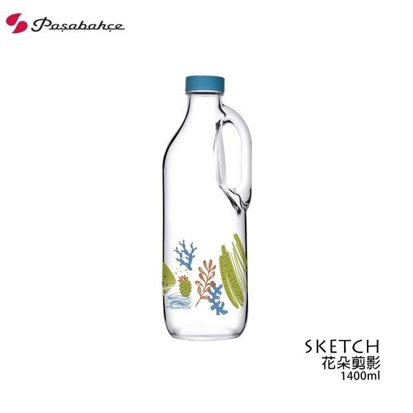Pasabahce SKETCH花朵剪影多功能水瓶 1400ml 冷水瓶 牛奶瓶 果汁瓶 彩圖印刷