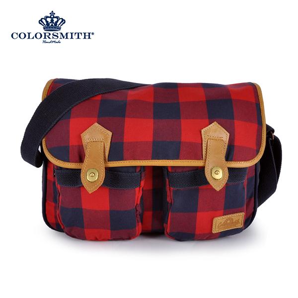 COLORSMITH CC方形斜背包-紅藍格紋CC1265-RB-M