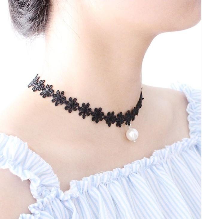 [最後一天] 韓國 複古 絨帶 頸鏈 蘿莉 蕾絲 花朵 頸帶 項圈 女短款 鎖骨項鏈 龐克 頸鍊 鎖骨鍊