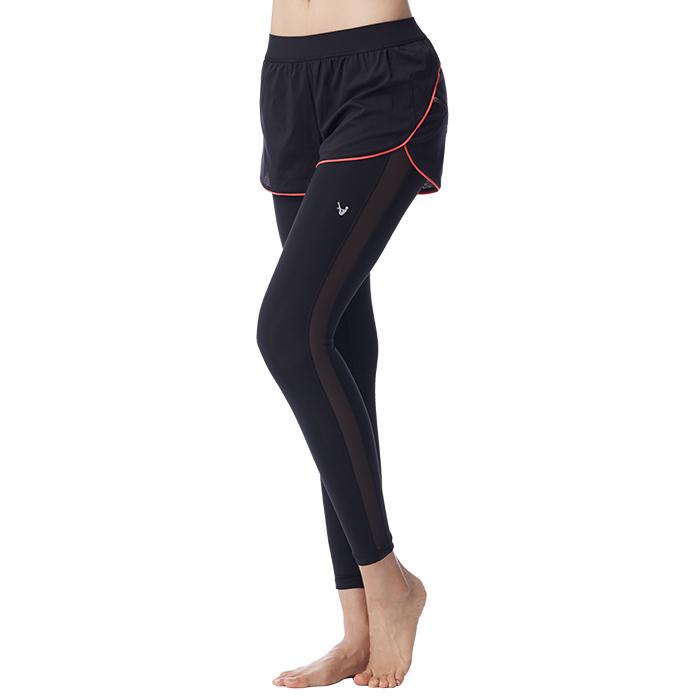 【MACACA】風之流動2in1plus 短長褲-AUG7421(黑/ 桔紅)(倒立瑜伽/飛輪/羽球/長跑/中強度運動)