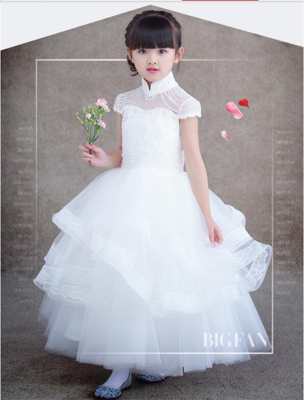 熊孩子兒童禮服裙公主裙女童禮服白色長款