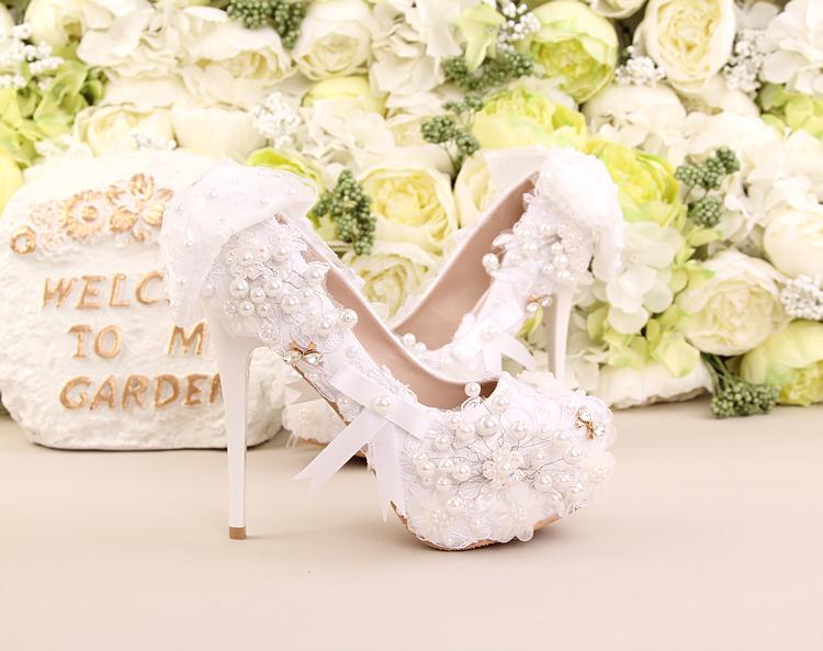白色蕾絲花朵高跟新娘鞋手擰珍珠水鑽婚鞋蝴蝶結禮服鞋敬酒女單鞋     :6661212037
