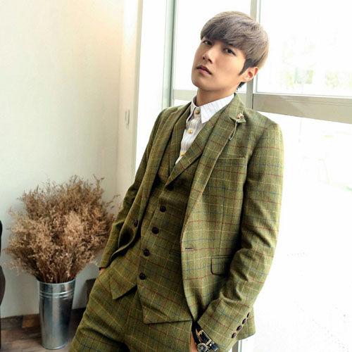 PoCo韓國直飛韓版格紋西裝外套簡約時尚羊毛西裝外套格子英倫風西裝英倫風簡約C089