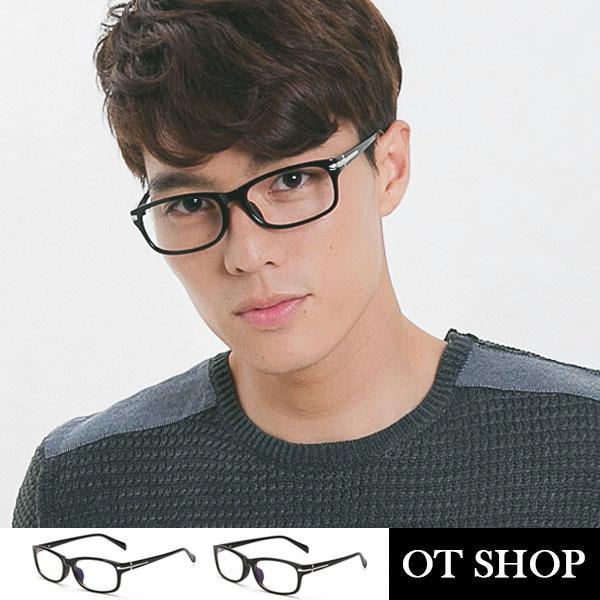 OT SHOP眼鏡框中性十字細金屬裝飾鏡框加高鼻墊方型文青窄框方形平光眼鏡亮黑霧黑現貨J16