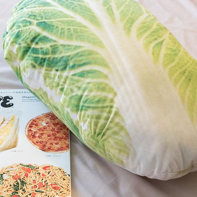 日雜風格小白菜抱枕花色獨特觸感扎實