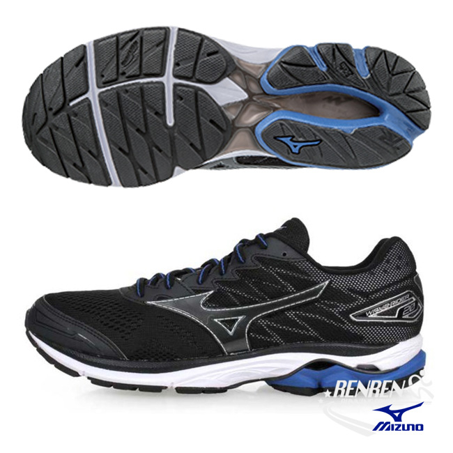 美津濃MIZUNO男跑鞋WAVE RIDER 20黑雲波浪款路跑鞋J1GC170351胖媛的店