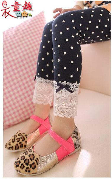 衣童趣 ♥ 韓版 甜美點點 浪漫蕾絲長褲 女童內搭褲 【現貨】