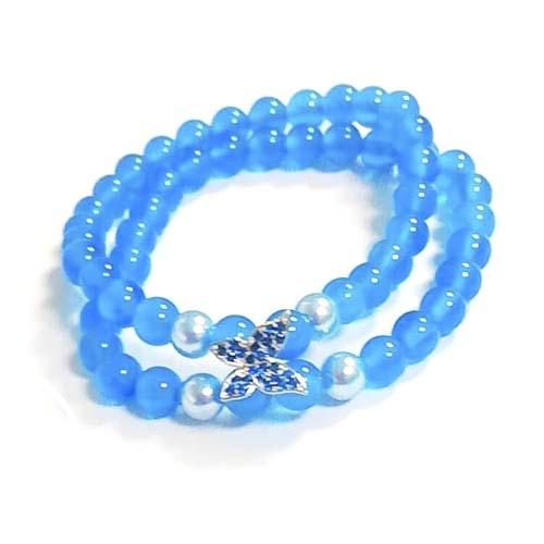 藍瑪瑙圓珠雙串與寶藍鋯石蝴蝶彈性手環