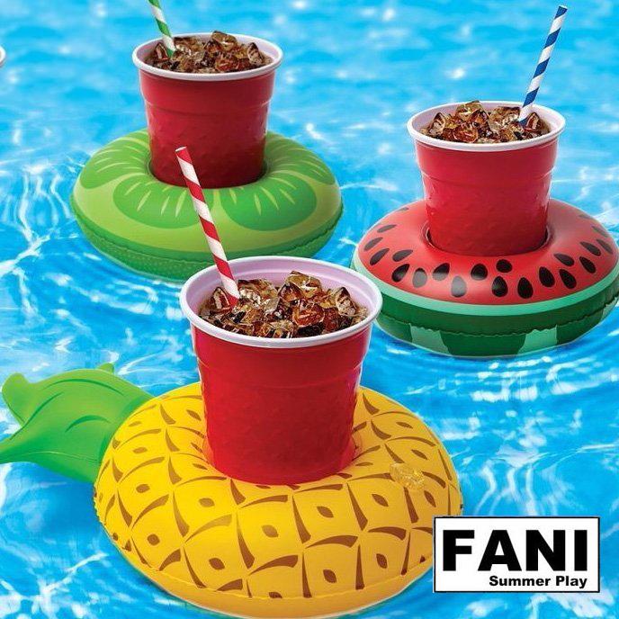 方妮FaNi❤【飲料泳圈水上充氣游泳圈粉天鵝飲料架】充氣玩具度假海灘沙灘安全座椅