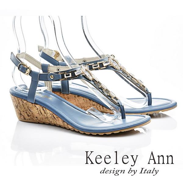★↘2折up★ Keeley Ann 自然優雅~大方環扣光澤夾腳人字涼鞋(藍色)