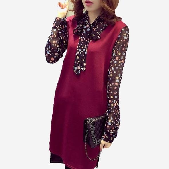 純色拼接雪紡碎花袖短洋裝 --[黑 紅] 兩色售