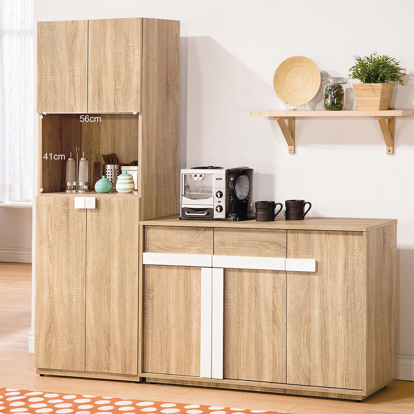 【森可家居】多莉絲6尺餐櫃 (全組) 6ZX905-2 收納廚房櫃 碗盤碟櫃 淺木紋質感 日系無印 北歐風
