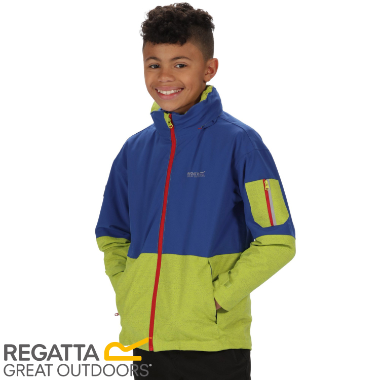 【REGATTA 英國 兒童 海卓特Ⅱ超反光防水二件式外套《藍/綠》】RKP174/防水/透氣/防風★滿額送