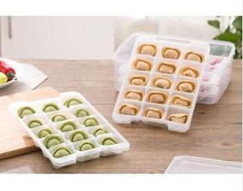 預購-廚房不粘底餛飩餃子保鮮盒收納盒 托盤(三層)