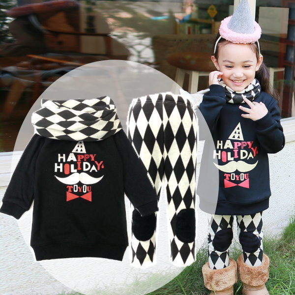 【韓版童裝】保暖毛毯毛附菱格圍巾套裝-黑【BD141108005】