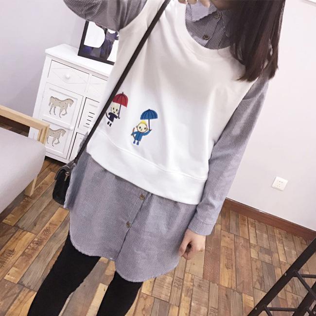 襯衫刺繡童趣圖騰背心拼接襯衫假二件上衣日系預購87-12-8846 ibella艾貝拉