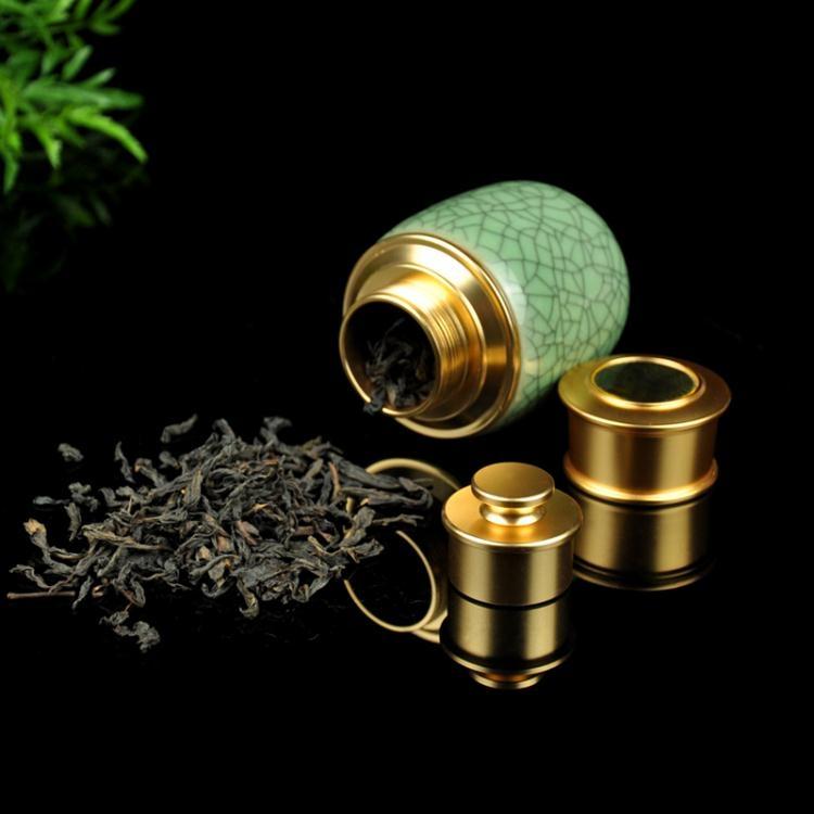 青瓷茶具茶葉罐金屬迷你密封陶瓷茶罐便攜旅行小罐茶葉盒非凡