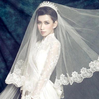 新娘頭紗國色傾城超長新款結婚頭紗 蕾絲花邊婚紗頭紗禮服配飾-103630031