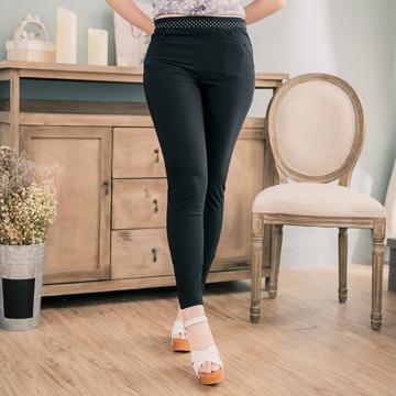 台灣製○涼感點點口袋彈性長褲(適穿腰圍L-3L)-獨具衣格