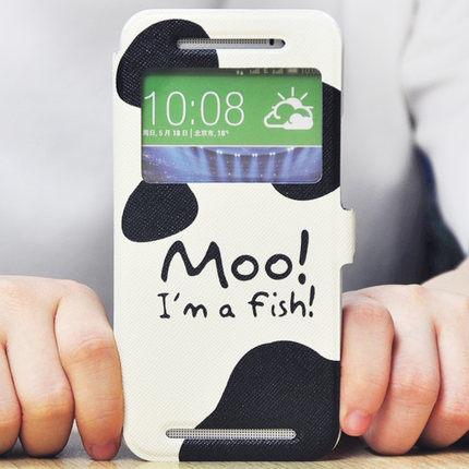 King*Shop~韓國彩繪開窗HTC ONE E8時尚版手機皮套E8手機殼M8ST M8SW保護套翻蓋視窗卡通